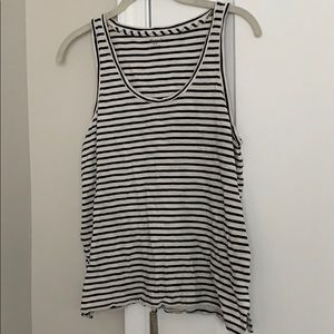 Madewell Black and White Striped Tank, Size Small